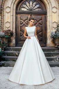 Фото Свадебные платья Недорогое закрытое атласное свадебное платье Жанна