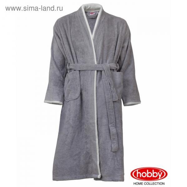 Халат мужской SUDE, размер ХХL,  серый, махра 380 г/м2