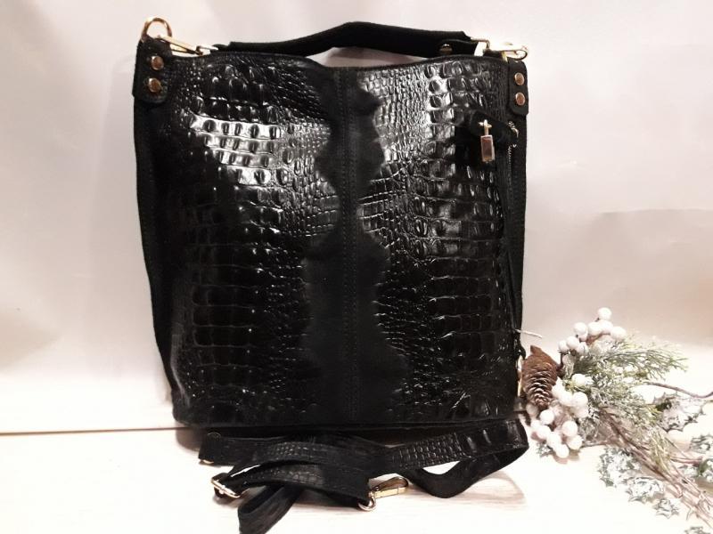 Жіноча шкіряна сумка.чорного кольору замш комбінований з шкірою має довгу і коротку ручку