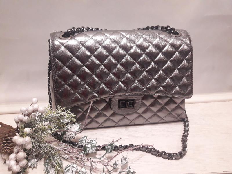 Жіноча шкіряна сумка - саквояж на ланцюжку колір сірий металік