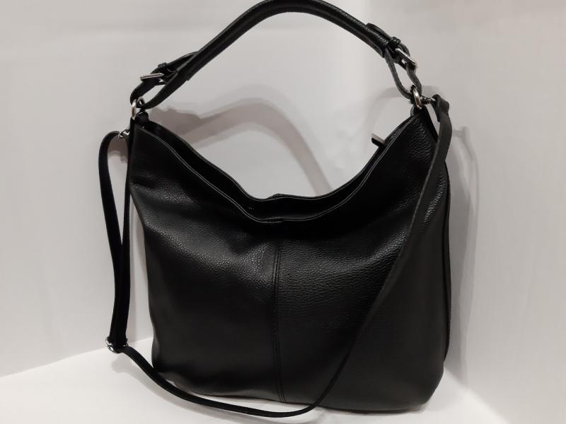 Мягка шкіряна сумка чорного кольору на два відділеня на короткій і довгій ручці через плече
