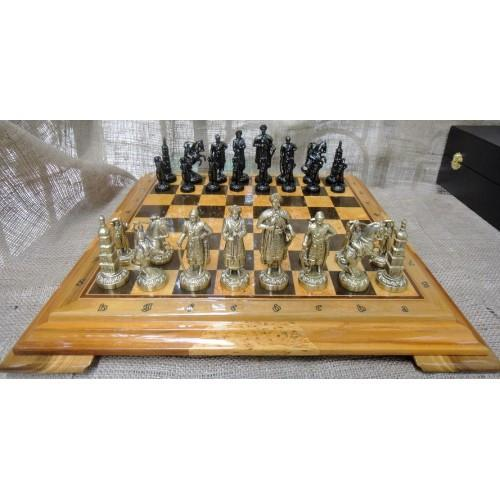 Набор шахмат, доска из дерева, фигурки бронзовые