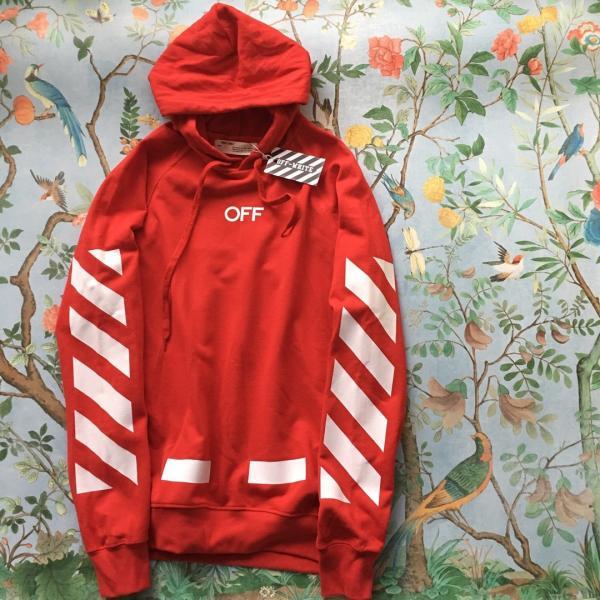 Мужская кофта с капюшоном Off-White (Офф-Вайт) красный XS