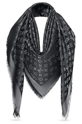 Женский платок с люрексом Louis Vuitton Shine Monogram (в стиле Луи Витон) черный