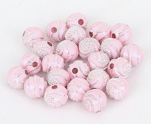 Фото Бусины ,полубусины ,стразы,.цветок, Бусины  разные Бусина  8 мм.  Розового  цвета  с  Серебряным  узором.    Упаковка  50 шт.