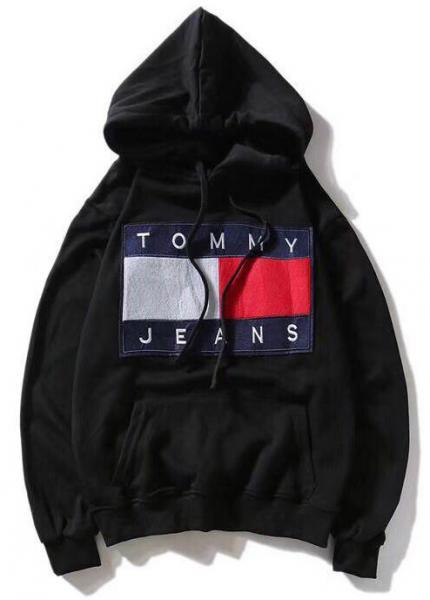 Мужская кофта с капюшоном Tommy Hilfiger (Хилфигер) черная XXL