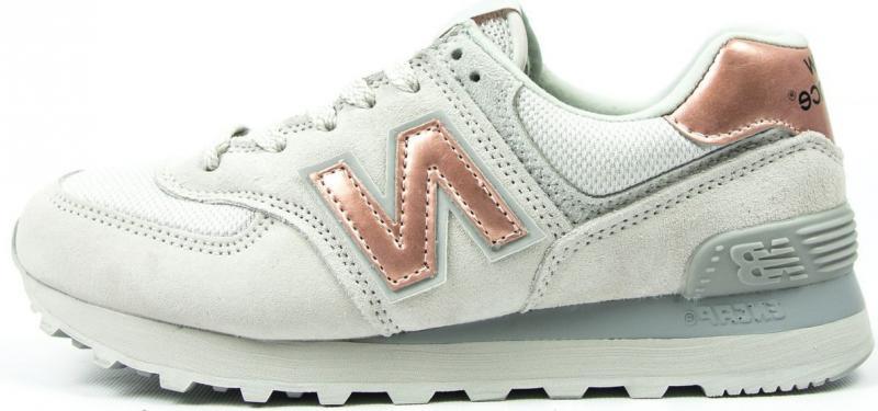 "Женские кроссовки New Balance 574 ""White/Brown"" (Нью Баланс) серые"