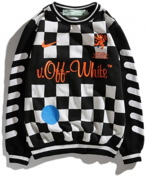 Мужской свитшот Off-White x Nike (Офф Найк) черно-белая M