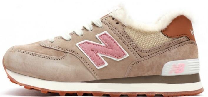 Женские кроссовки New Balance 574 (Нью Баланс) с мехом