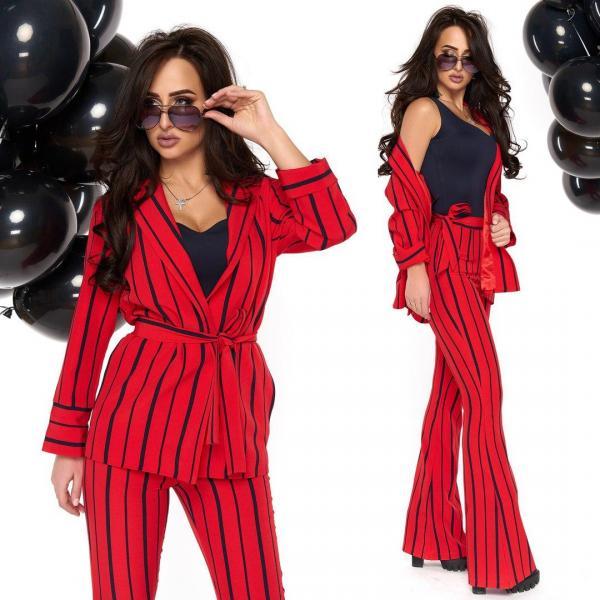 Стильный женский красный костюм тм Enneli в полоску