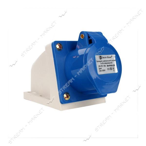 Розетка стационарная Electro House EH-PSS-316 3 контакта 2P plus PE 16А 220В IP44