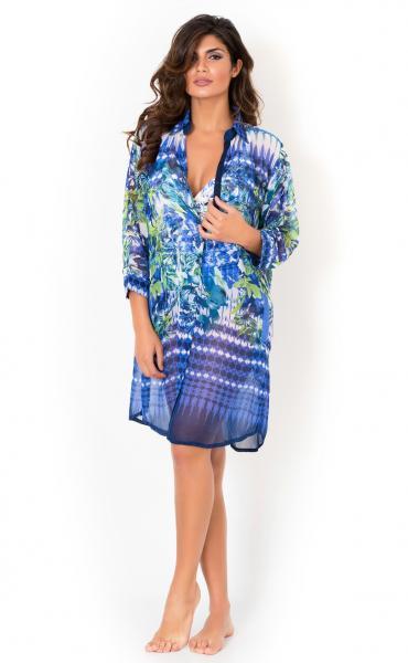 Синее пляжное платье с цветами David DA8-047 44(M) Синий David DA8-047