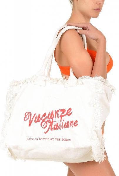 Белая пляжная сумка с логотипом Vacanze Italiane VI7 105 W One Size Белый Vacanze Italiane VI7 105 W