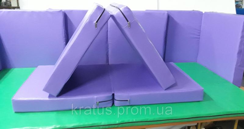 Маты игровой детский раскладной одноцветный 1,2х0,6х0,1м