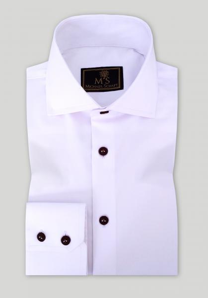 Рубашка мужская Michael Schaft Белая с коричневыми пуговицами Slim Fit