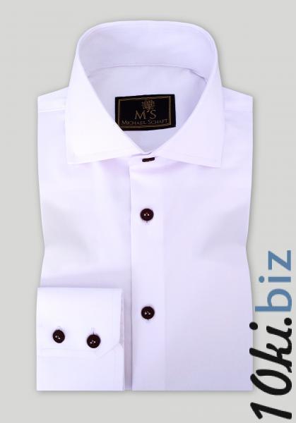 Рубашка мужская Michael Schaft Белая с коричневыми пуговицами Slim Fit, цена фото купить в Киеве. Раздел Мужские рубашки