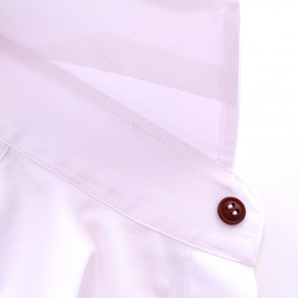 Фото Мужские рубашки Рубашка мужская Michael Schaft Белая с коричневыми пуговицами Slim Fit