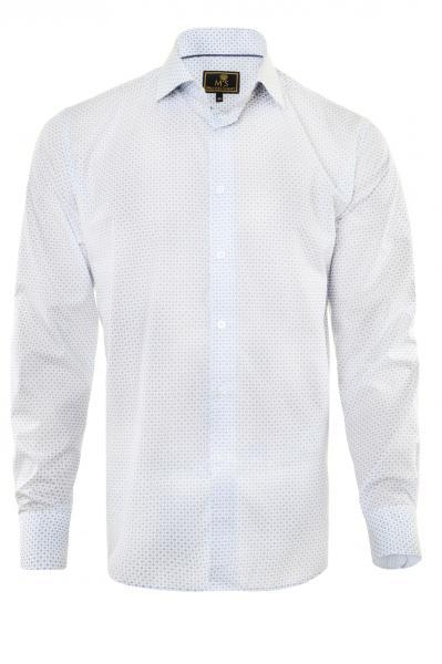 Фото Мужские рубашки Рубашка мужская Michael Schaft Белая с цветным принтом Slim Fit