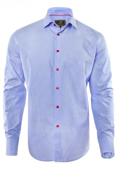 Фото Мужские рубашки Рубашка мужская Michael Schaft с мелкой голубой фактурной полосой и контрастными пуговицами Slim Fit