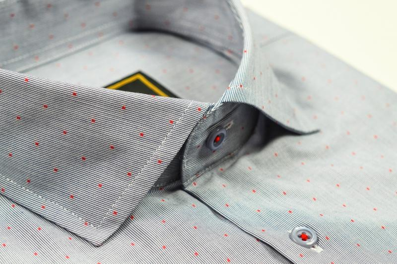 Фото Мужские рубашки Рубашка мужская Michael Schaft Серая с контрастным принтом Slim Fit