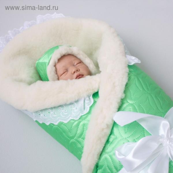 Одеяло на выписку зимнее «Карамелька», размер 110 × 110 см, салатовый