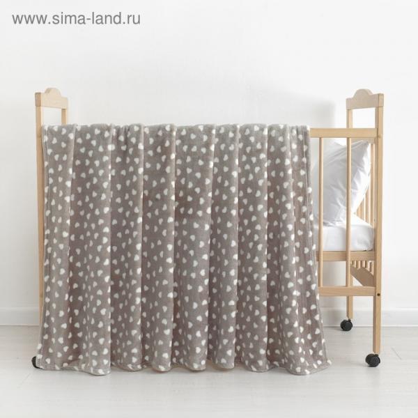 Плед «Сердечки» цвет серый 80×100 см, пл. 230 г/м², 100% п/э