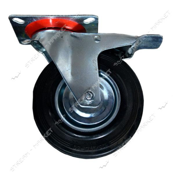 Колесо для тележки 125/37.5-50 поворотное с тормозом на платформе