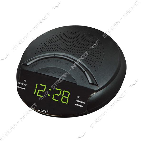 Часы сетевые 903-2 зеленые радио FM