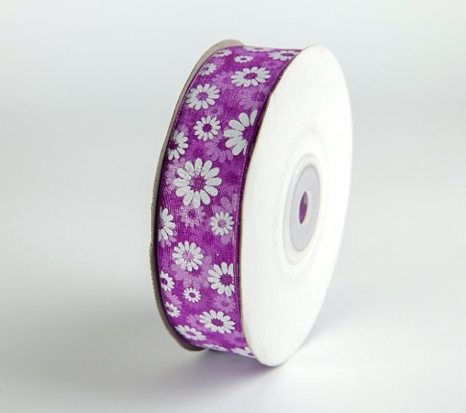 Фото Ленты, Лента  органза  в  цветочек , и  с  узорами. Лента  Органза  2,5 см.   Фиолетового  цвета  в  белых  ромашках .