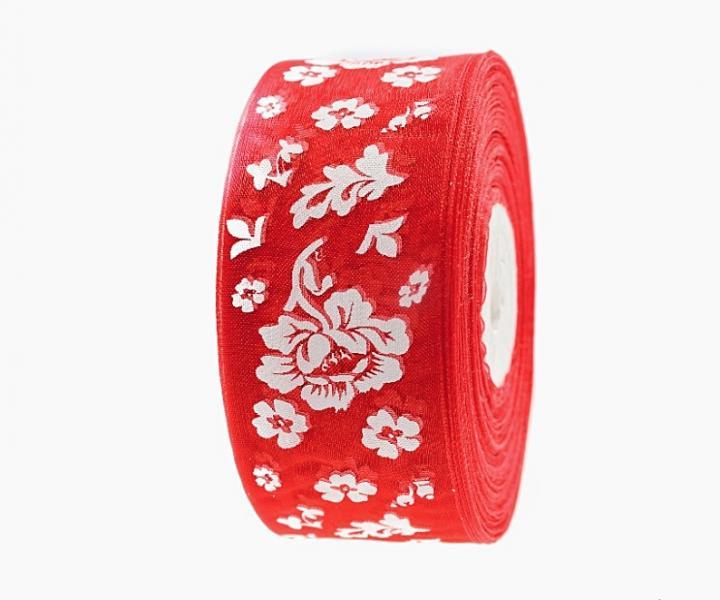Фото Ленты, Лента  органза  в  цветочек , и  с  узорами. Лента  Органзовая  4 см.   Красная  в  белых цветочках  .   Цена  -  3,65  грн.  за  метр.