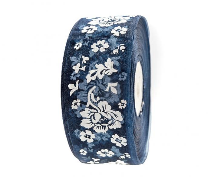 Фото Ленты, Лента  органза  в  цветочек , и  с  узорами. Лента  Органзовая  4 см.   Тёмно - синяя  в  цветочках  .