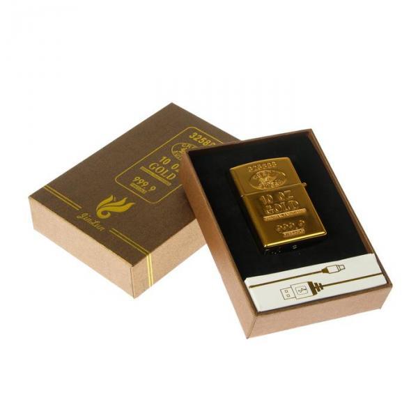 Зажигалка электронная в подарочной коробке, дуговая, золотая, прямоугольная, 6.5 × 2.5 × 12 см