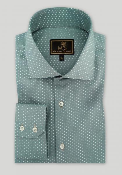 """Рубашка мужская Michael Schaft цвета темной бирюзы с принтом """"горох"""" Slim Fit"""