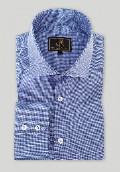 Рубашка мужская Michael Schaft Голубая с мелкой фактурой Slim Fit