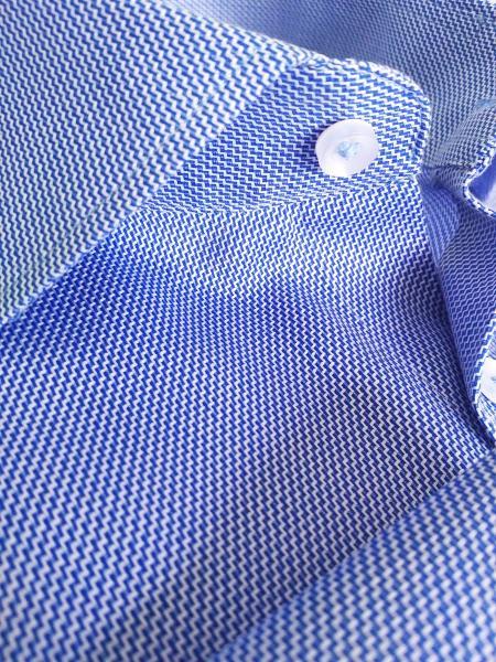 Фото Мужские рубашки Рубашка мужская Michael Schaft Голубая с мелкой фактурой Slim Fit