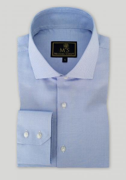 Рубашка мужская Michael Schaft Голубая с фактурным плетением Slim Fit