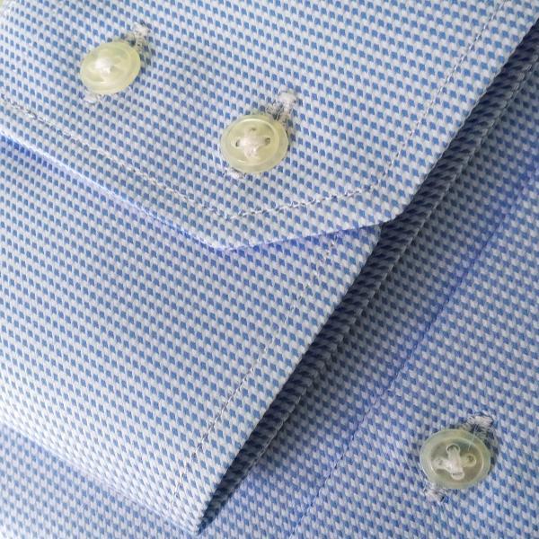 Фото Мужские рубашки Рубашка мужская Michael Schaft Голубая с фактурным плетением Slim Fit