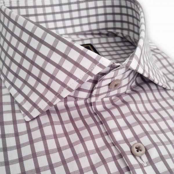 Фото Мужские рубашки Рубашка мужская Michael Schaft Белая фактурная с узором