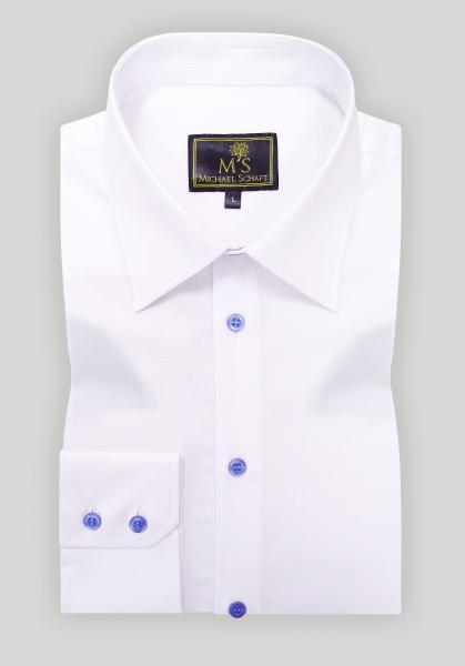 Рубашка мужская Michael Schaft Белая Classic Fit с голубыми пуговицами