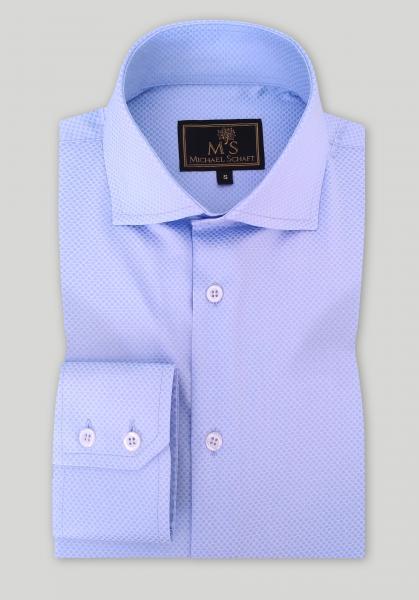 Рубашка мужская Michael Schaft Голубая фактурная Slim Fit