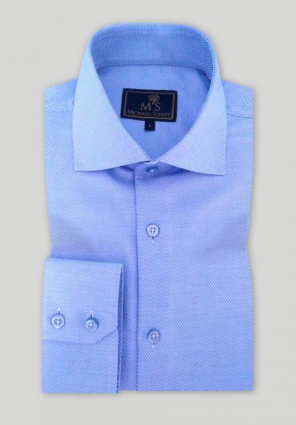 """Рубашка мужская Michael Schaft Голубая с фактурой """"мелкий горох"""" Slim Fit"""