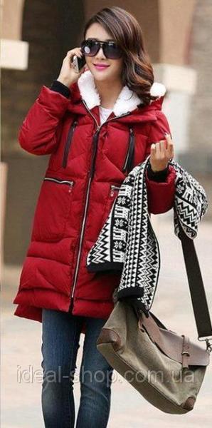 Пальто утепленное мехом бордовое