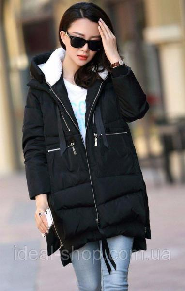 Пальто утепленное мехом черное