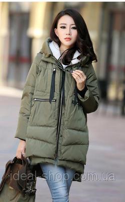 Пальто утепленное мехом хаки