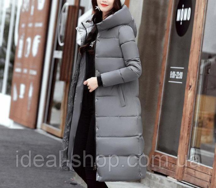 Удлиненное пальто серое