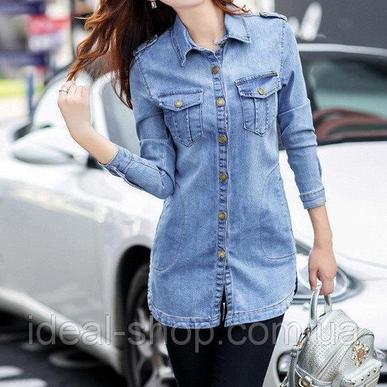 Джинсовая куртка-рубашка