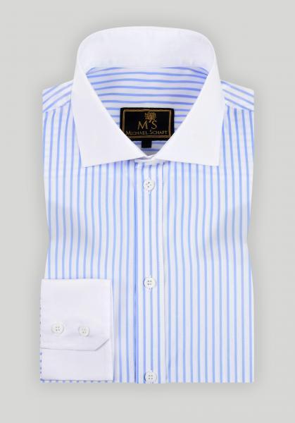 Рубашка мужская Michael Schaft в голубую полоску с белым воротником Slim Fit