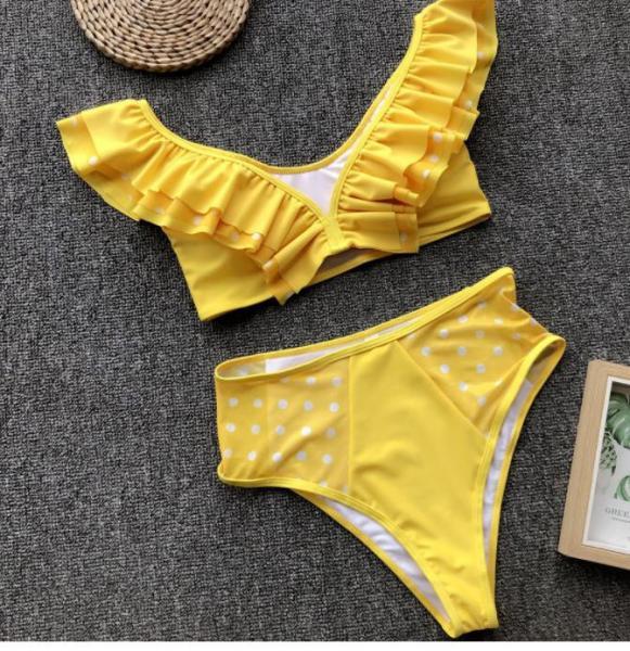 Женский раздельный купальник желтый.