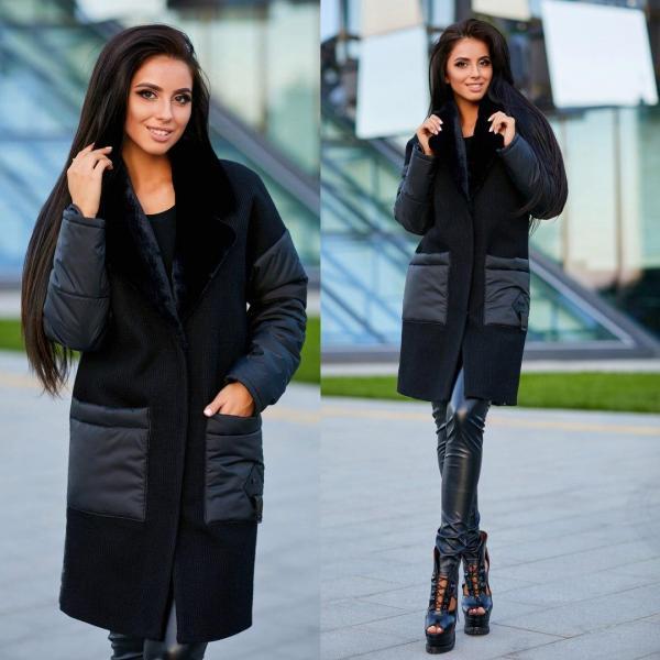 Пальто шерстяное и рукава плащевка.