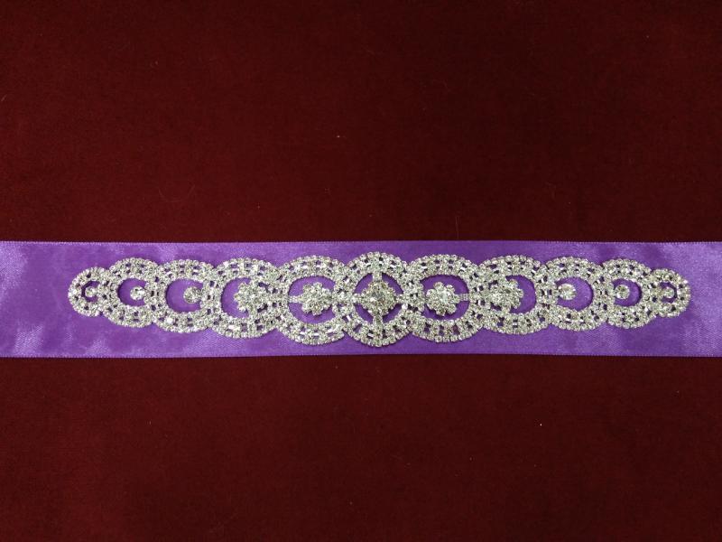 Пояс с камнями Swarovski для свадебного/вечернего платья ярко-фиолетовый